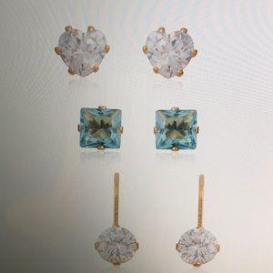 Jewelry - SET OF 3 MULTI CZ GOLDTONE EARRINGS